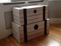 Shabby chic blanket boxes (x2)