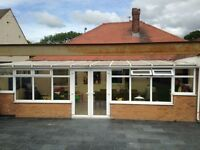 Large white upvc glass conservatory. Dismantled ready to go. 7780mm Wide