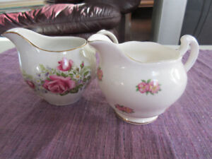 2 Pretty little English Bone China Creamers - Roses & Pansies