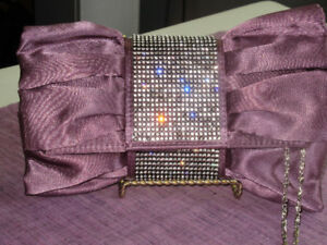 Stunning Evening Bag - Dark mauve with silver bling  New!