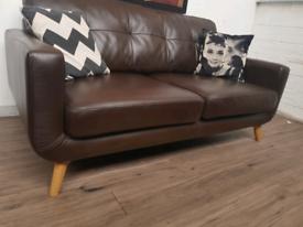 John Lewis Barbican 2 seater sofa in brown leather RRP £2000
