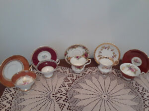 5 Collectible vintage teacups in rich red tones