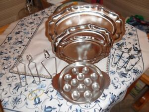 3 Serving trays and 3 Escargot trays and set of 6  holders
