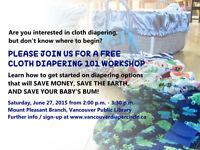 Free Cloth Diapering Workshop June 27 2015 @ 2 pm, cloth diapers