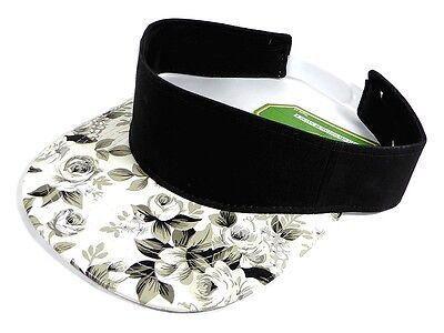 BLACK WHITE FLORAL PRINT VISOR SNAPBACK HAT CAP ADJUSTABLE HAWAIIAN FLOWER GOLF - Floral Print Visor
