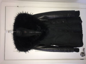 LADIES LEATHER/DOWN RUDSAK COAT - SIZE SMALL - GOOD CONDITION