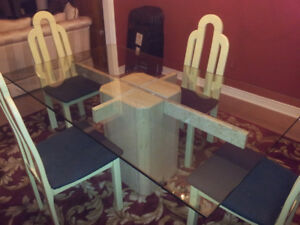 Dining room table -Marble base & glass top luxury + chairs