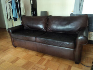 Original & flawless thick leather Starbucks couch. est. $4K new.