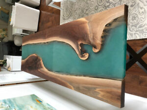 New custom black walnut river table with aqua blue epoxy-resin!