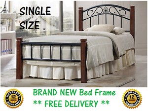 BRAND NEW Single Size Bed Frame Timber and Iron DELIVERED FREE New Farm Brisbane North East Preview