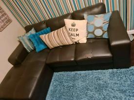 Left Handed, Brown Bonded Leather, 3-Seater Corner Sofa