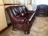 Solid Wood Hand Made Antique Style Leather 3 Piece Suite (cost over £3500 new)