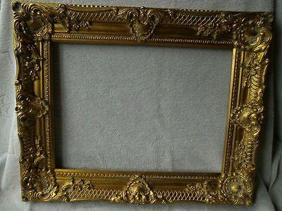 großer Bilderrahmen Prunkrahmen Barockrahmen Wandrahmen Antik-golden Holz 54x44,