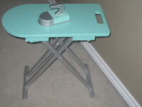 Ironing board and play iron folds down for storage
