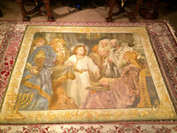 LARGE ANTIQUE EXVOTO VEGETABLE DYE PAINTING TAPESTRY NO PAYPAL