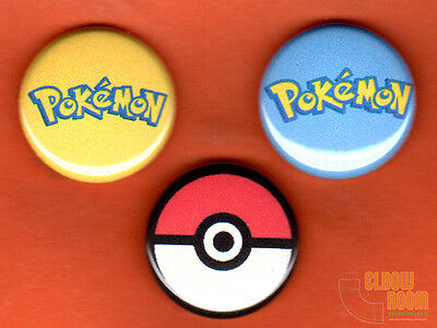 "Set of three 1"" Pokemon logo pins buttons Pokeball"