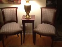 Two Chairs and one accent Table and Table Lamp