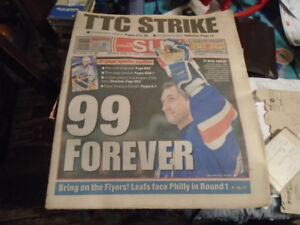 Wayne Gretzky retirement Toronto Sun paper from April 19,1999.