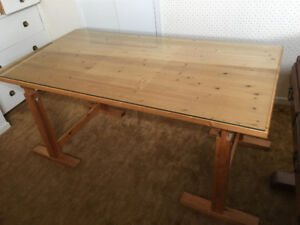 Solid Pine Desk, Glass-topped, Adjustable