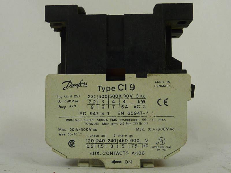 Danfoss Contactor 9A 3Pole 220/380/500/660V CI9  USED