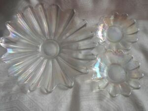 Vintage Clear Iridescent Carnival Glass Bowls /Dishes (3)