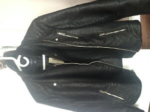 BNWT!American Eagle black leather style bomber jacket