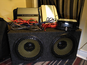 "12"" subwoofer, amps and deck"