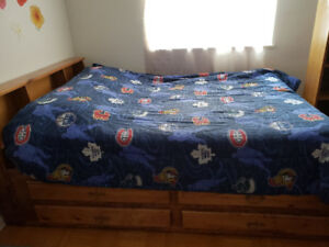 Double Bed with Mattress and sports bed cover