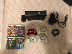 Xbox 360 Slim 320GB Harddrive, 4 controllers, 4 games + HDMI