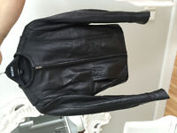 Womens motorcycle leather jacket, size Small