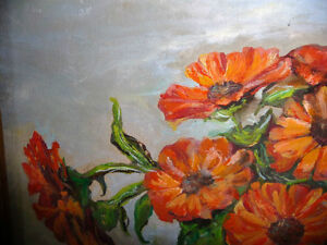 Vintage Still Life of Zinnias In A Blue Vase by M. Oliphant '47 Stratford Kitchener Area image 8