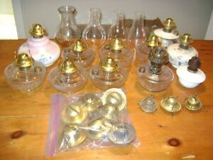 Antique Oil Lamp, Fonts, Burners & Shades
