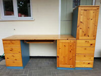 Desk with four drawers, cupboard and keyboard shelf. Matching cupboard unit also available.