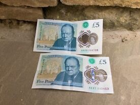 Collectable £5.00 notes