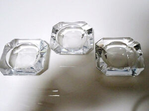 ART DECO Val St. Lambert heavy small CRYSTAL ASHTRAYS x3 signed