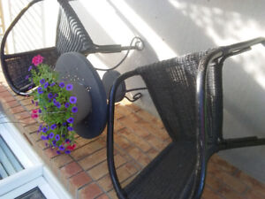 Patio set- 2 ratten chairs and a table