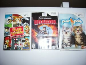 lot 3 jeu wii help wanted/dragon/purrs pals