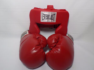 Everlast boxing gloves and head gear