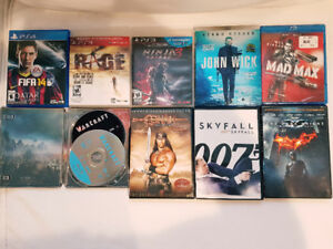 2 ps3 games, 1 ps4 game, 3 blu-ray movies and 3 DVD movies