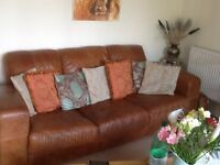 DFS Distressed 3 seater Leather Sofa