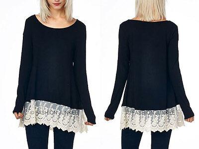 BLACK Lace TRIM BOTTOM TOP Long Sleeve Tunic Top PLUS SIZE S M L 1X 2X 3X 4X