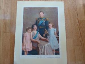 Reproduction d'une peinture à l'huile famille royale George VI