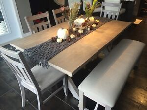 Just Like New Condition Grey Trestle style table