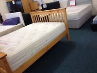 Brand new double wood bed with mattress