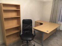 Large Office Desk & Bookshelf