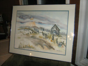 Jean Monteith framed water colour 25 X 32 inches