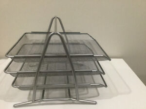 Mind Reader 3-Tier Steel Mesh Paper Tray Desk Organizer, Silver