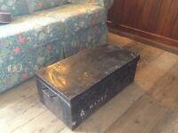 Vintage metal trunk / coffee table