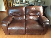 2x two seater brown leather reclining couches