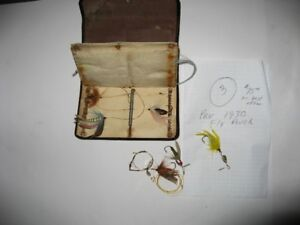 6. Antique fishing flies with pre 1930's fly case Lot # 4